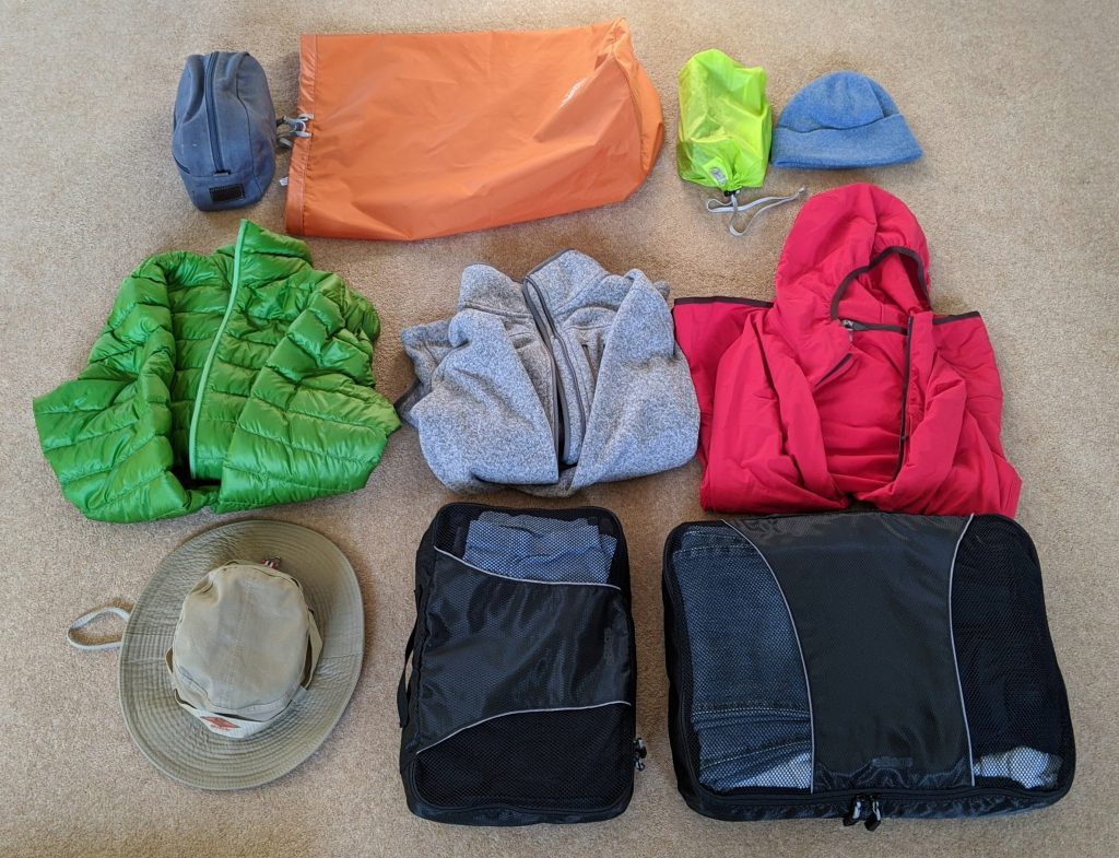 jackets and packing cubes